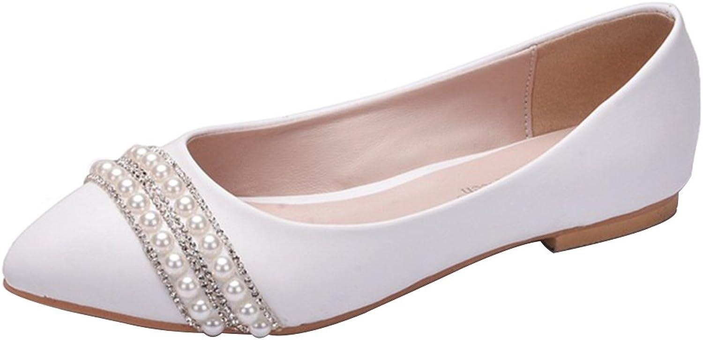 Kyle Walsh Pa Women Pointed Toe Beaded Satin Slip-On Wedding Dress Ballet Flats shoes