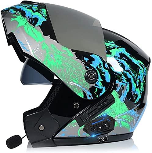YSDKJ Motorbike Helmet Casco de Bluetooth Integrado Casco de Integral ABS 1500G ECE/Dot Aprobado Visores Dobles Cascos modulares Plegables YSDKJ628(Color:D;Size:XL)