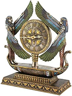 Design Toscano Wings of Isis Egyptian Revival Desk Mantel Clock Statue, 16 Inch, Faux Bronze