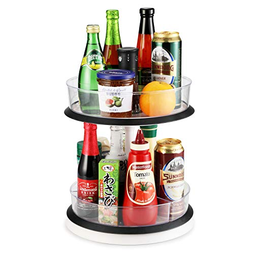 2-Tier Cabinet Turntable Lazy Susan, SEALON 360 Degrees Kitchen Rotatable Shelf Liftable for Condiment Bottles Bowl Spoon Fork (2-Tier)