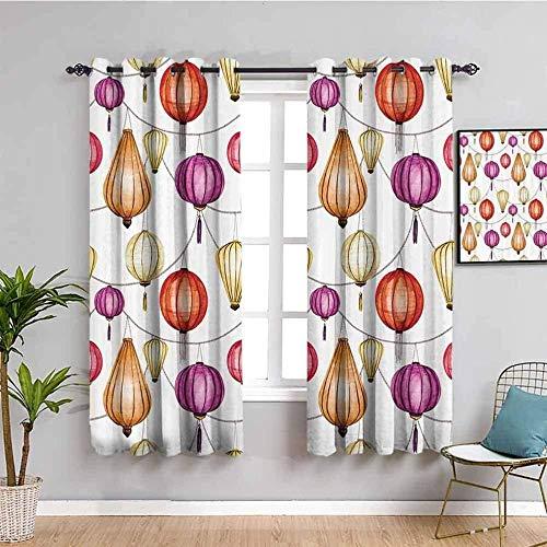 LucaSng Cortinas de Opacas - Estilo Chino Color Linterna - 264x210 cm - para Sala Cuarto Comedor Salon Cocina Habitación - 3D Impresión Digital con Ojales Aislamiento Térmico Cortinas