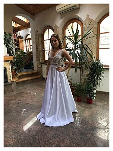 TDIDOJQ Abito da Sera Senza Schienale con Scollo a V Collo a V Perline A-Line Beaded Crystal Bodice PartyFormal Prom Gown (Color : White, US Size : 4)