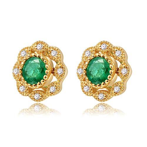 AueDsa Pendientes Oro Pendientes Oro Amarillo 18k Mujer Flor con Esmeralda Verde Blanca 0.27ct