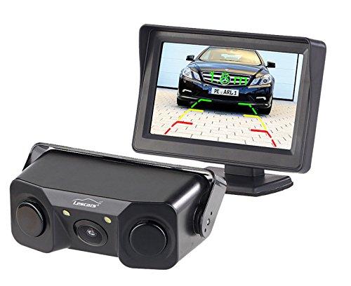 """Lescars Einparkhilfe Kennzeichen: Rückfahrhilfe mit Abstandswarner, Kamera & 10,9-cm-LCD-Monitor (4,3\"""") (Rückfahrkamera Set)"""