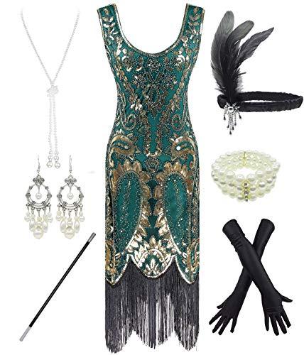 FUNDAISY 1920er Jahre Gatsby Pailletten gefüttert Paisley Flapper Dress Set mit 20er Jahre Zubehör (Style02-Gold & Grün, M)