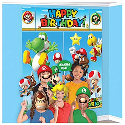 """Super Mario Happy Birthday Giant Scene Setters Wall Decorating Kit Party Backdrop, 5 Pieces, Made from Vinyl, Multicolor, 59"""" x 65"""" by Amscan by Amscan"""