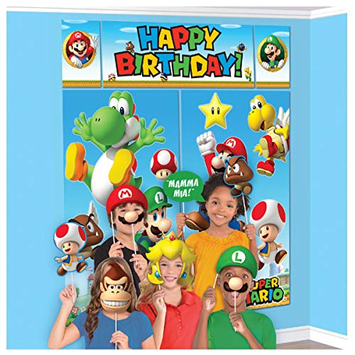 Super Mario Happy Birthday Giant Scene Setters Wall Decorating Kit Party Backdrop, 5 Pieces, Made from Vinyl, Multicolor, 59  x 65  by Amscan