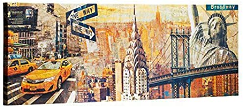 ArtKisser New York City Wall Art on Canvas Sunkissed Manhattan Chrysler Building Statue of Liberty NYC Wall Decor Prints A...