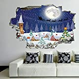 Winter Season Snowman Xmas Tree Santa Sleigh Moon Present Boxes 3D Wall Decals, Wall Decor Break Through The Wall Decal, Vinyl Stickers Kids Room Decor 36 x 24 inches
