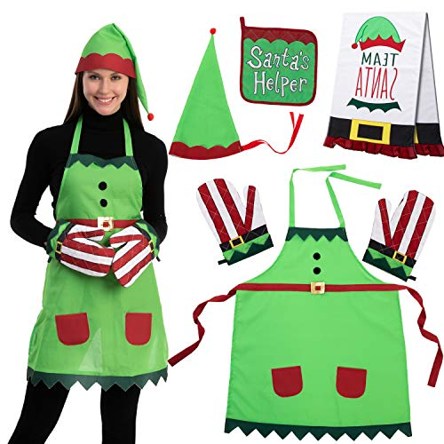 6 PCS Elf Apron Christmas Kitchen Linens Accessories Set – Christmas Elf Apron, Hat, Cooking Chef Towel, Oven Mitts, Potholder, for Unisex Christmas Party Costume Supplies