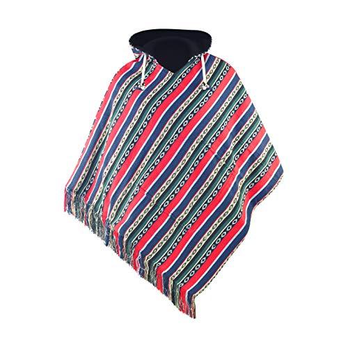 virblatt - Poncho Herren | Baumwolle & Polarfleece | Fleece Poncho Nepal Jacke Jerga Hoodie Kuschel Poncho - Adelante L-XL rot