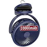 10000mAh Battery Operated Clip Fan with Hanging Hook, Super Strong Airflow, 4 Speeds, Sturdy Clamp, Timer, Portable Rechargeable Camping Fan for Desktop Tent Treadmill Golf Cart Hurricane, Lasts 40hrs