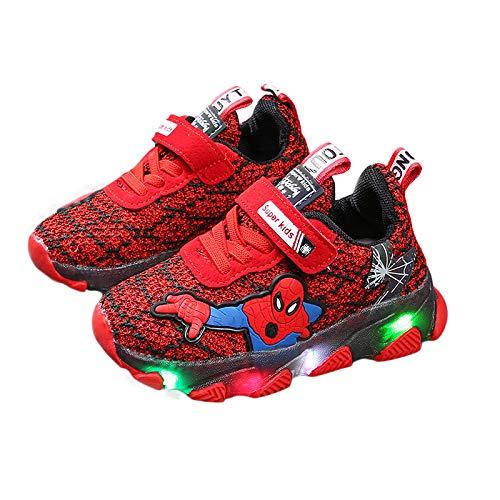 WEIR Zapatillas de Deporte LED para niños Spiderman Zapatillas de Entrenamiento Intermitentes Zapatillas de Correr Transpirables de Malla para niños,Red-23EU