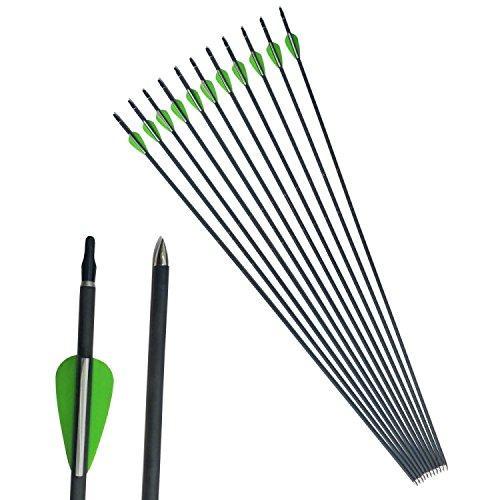 ZSHJG 12pcs Carbonpfeile 31 Zoll Bogenpfeile Spine 600 Jagdpfeile für Compoundbogen und Recurvebogen
