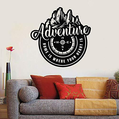 HGFDHG Adventure Wall Decal Mountain Wind Rose Travel Compass Vinyl Window Sticker Bedroom Living Room Home Decoration Art