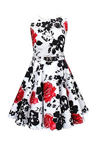 """BlackButterfly Dzieci """"Audrey"""" Zabytkowe Spokój Lata '50 Dziewczęce Sukienka (Biały i czerwony, 3-4 lat)"""