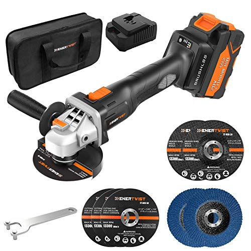 Enertwist Cordless Angle Grinder 20V MAX Brushless, 4 1/2', 0-8000 RPM w/ 4.0AH Lithium-Ion Battery & Fast Charger, 2-Position Auxiliary Handle, Electric Brake, 3+2+2 Cutting & Grinding& Flat Wheels