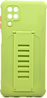 Luxury Wrist Strap Holder Phone Case For Samsung Galaxy A12 Case Soft Silicone Candy Color Cover (Green)