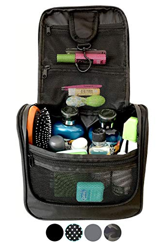 WAYFARER SUPPLY Hanging Toiletry Bag: Pack-it-flat Travel Kit, Black