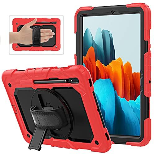 AdirMi Funda Anticaída para Samsung Galaxy Tab S7 11 Inch (T870/T875/T878) 2020, Funda Duradera a Prueba de Golpes con Protector de Pantalla, Soporte Rotación, Correa de Mano/Hombro,Red