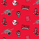 60'' Wide Collegiate Fleece North Carolina State University Tossed Fabric by The Yard