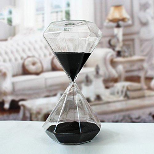 Clessidra in vetro creativa, romantica, colorata, alla moda, a forma di diamante, timer da scrivania e da cucina, ideale come regalo di compleanno o di Natale 15 Minutes Nero