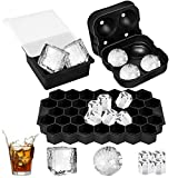 Ice Cube Trays Silicone Set of 3, Sphere Square Honeycomb Ice Cube Mold with Lids, BPA Fre...