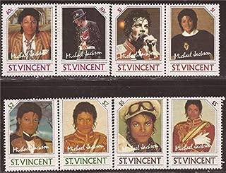 St Vincent - 1985 Michael Jackson Set of 4 Stamp Pairs #894-7 27A-036