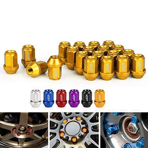 LIDAUTO Radmuttern Rad Muttern Diebstahlsicherungsschraube Kugelkopf Aluminiumlegierung M12 × 1,5 、 M12 × 1,25 35 mm LN045,golden,M12*1.5
