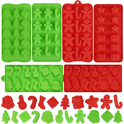 Aneco 6 Pack Christmas Silicone Candy Chocolate Molds Non Stick Candy Molds Cookies Baking Trays Pan with Christmas Elements Shapes for Party Decoration, Red, Green