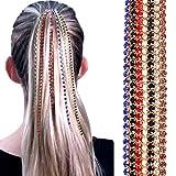 Whiie891203 Geometrische Lange Quaste Kette, Kopfschmuck Kopfkette, Moderne Farbe Strass Haarkette, Lange Strass Haarverlängerungskette Punk Hip-Hop Pferdeschwanz Quaste Kopfschmuck Lila
