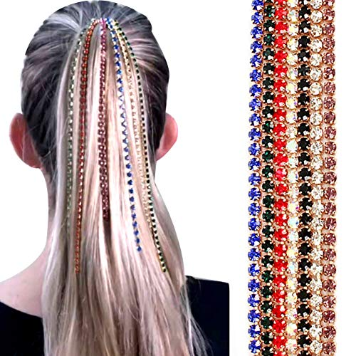 Whiie891203 Geometrische Lange Quaste Kette, Kopfschmuck Kopfkette, Moderne Farbe Strass Haarkette, Lange Strass Haarverlängerungskette Punk Hip-Hop Pferdeschwanz Quaste...