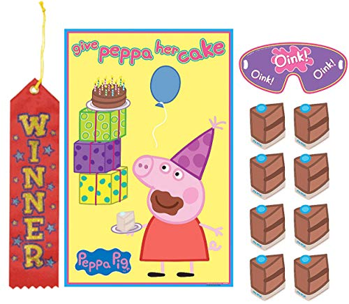 Peppa Pig Pin The Tail on The Donkey Style Party Game with Blindfold & Stickers! Plus 1st Winner Ribbon!...