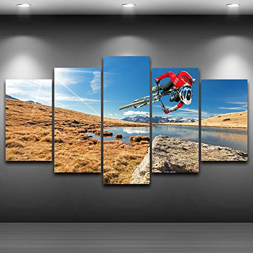 5 Canvas paintings Modern Pictures Living Room Mountain Bike Sunshine Landscape Home Decoration Poster HD Printed Painting Frameless