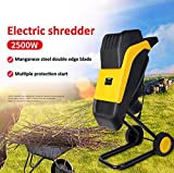 Electric Wood Chipper Shredder, 2500W Garden Corded Electric Chipper/Shredder, Yellow