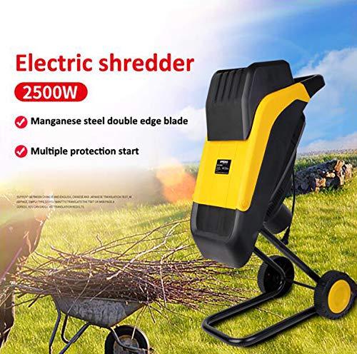 CRZJ Elektrischer Holzhacker-Schredder, 2500W Gartenschnur-elektrischer Häcksler/Schredder, gelb