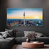 Paisaje de la ciudad de Berlín, pinturas artísticas en lienzo, carteles e impresiones, cuadros de pared de paisaje de Alemania para decoración del hogar, bronce de 30x60 cm