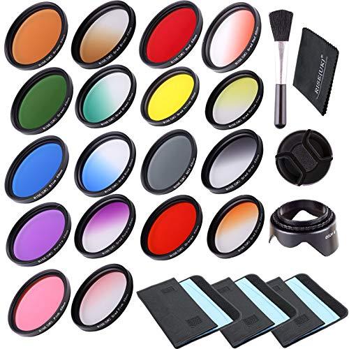 RISE (UK) 18 unidades de filtro circular ajustable gradual y a todo color + bolsas de filtro + parasol + paño de limpieza + tapa de...