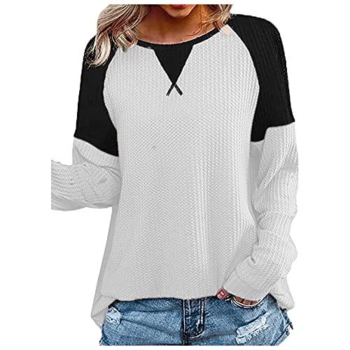 FOTBIMK Mujeres Waffle Patchwork manga larga camiseta costura cuello redondo camiseta Tops, blanco, S