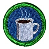 Coffee Drinking Novelty Merit Badge - 1.5' Embroidered Patch with Adhesive Backing