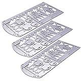 Buspoll Survival Gear Credit Card Multi Tool - Camping Multipurpose EDC Multitool - Fishing Hooks, Gift Idea (silver 3PC)