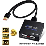 HDMI Splitter 1 in 2 Out, NEWCARE 1x2 Hdmi Splitter Supports Full HD 4K @ 30HZ & 3840×2160P & 3D for Xbox PS4/ 3 Roku Blu-Ray Player Fire TV (Included High Speed HDMI Cable)