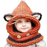 URAQT Niedlich Wintermütze Mütze Kapuzenschal für Mädchen Jungen Kinder, Kindhut Fuchs Handgestrickt…