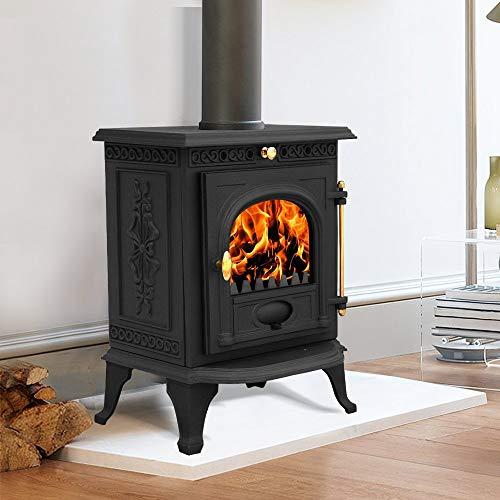 Lincsfire Welton JA014 6.5KW Cast Iron Log Burner Modern MultiFuel Wood Burning Stove WoodBurner Woodburning Fireplace