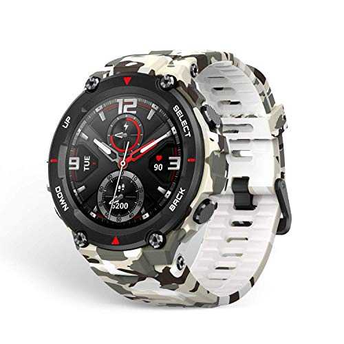 Amazfit T-Rex Smartwatch with12 Military Certifications,20-Day Battery Life,Tough Body,1.3'' AMOLED Display,5 ATM Water-Resistant,14 Sports Modes, Camo Green, Model Number: Nandos_Store