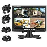 Liehuzhekeji Car Backup Camera and Monitor Kit, 7 Inch HD Quad Split Monitor