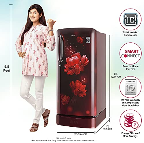 LG 190 L 4 Star Inverter Direct-Cool Single Door Refrigerator (GL-D201ASCY, Scarlet Charm, Base stand with Drawer) 2