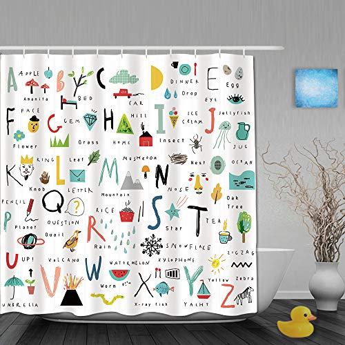 QINCO Duschvorhang,24 Brief ABC zurück zur Schulbildung,personalisierte Deko Badezimmer Vorhang,mit Haken,180 * 180