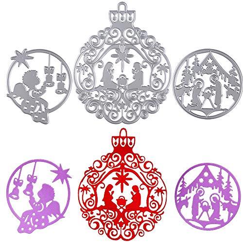 3pcs Troqueles Navidad Scrapbooking de Metal Diseño Navideños ángel Troqueles de Corte Plantillas Dies Cut Tarjeta Papel Decoración Manualidades