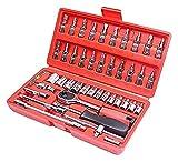 Conjunto de llaves de zócalo, 46 piezas 1/4 Ajuste de herramientas de reparación automática Kits de herramientas de hardware, caja de herramientas de mantenimiento multifunción, con llave de trinque